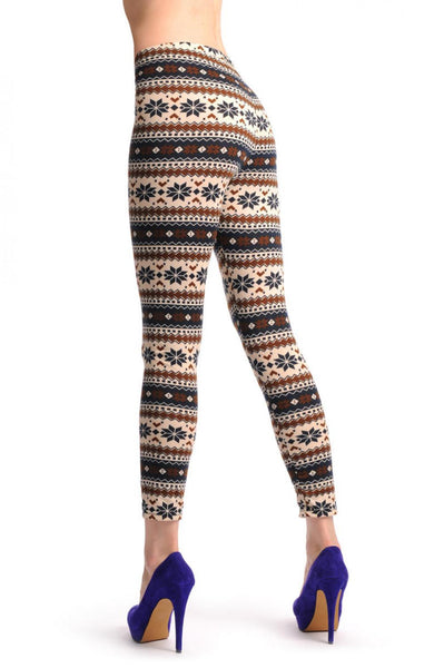 Beige Black & Brown Aztec Jacquard Knit Print