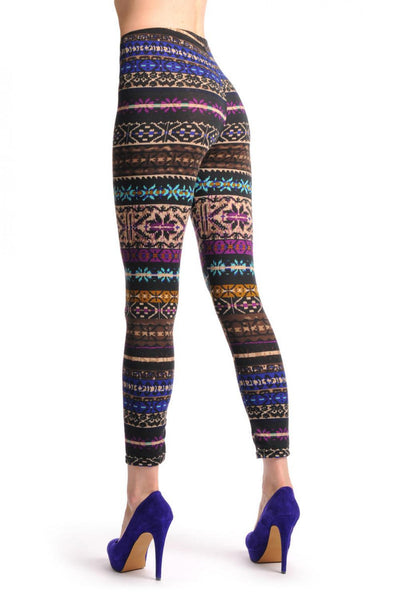 Beige Blue Purple & Brown On Black Aztec Jacquard Knit Print