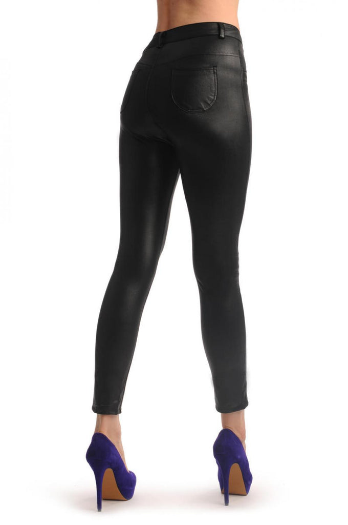 9b87a5339a Black Wet Look Tight Fit Faux Leather Trousers | LissKiss