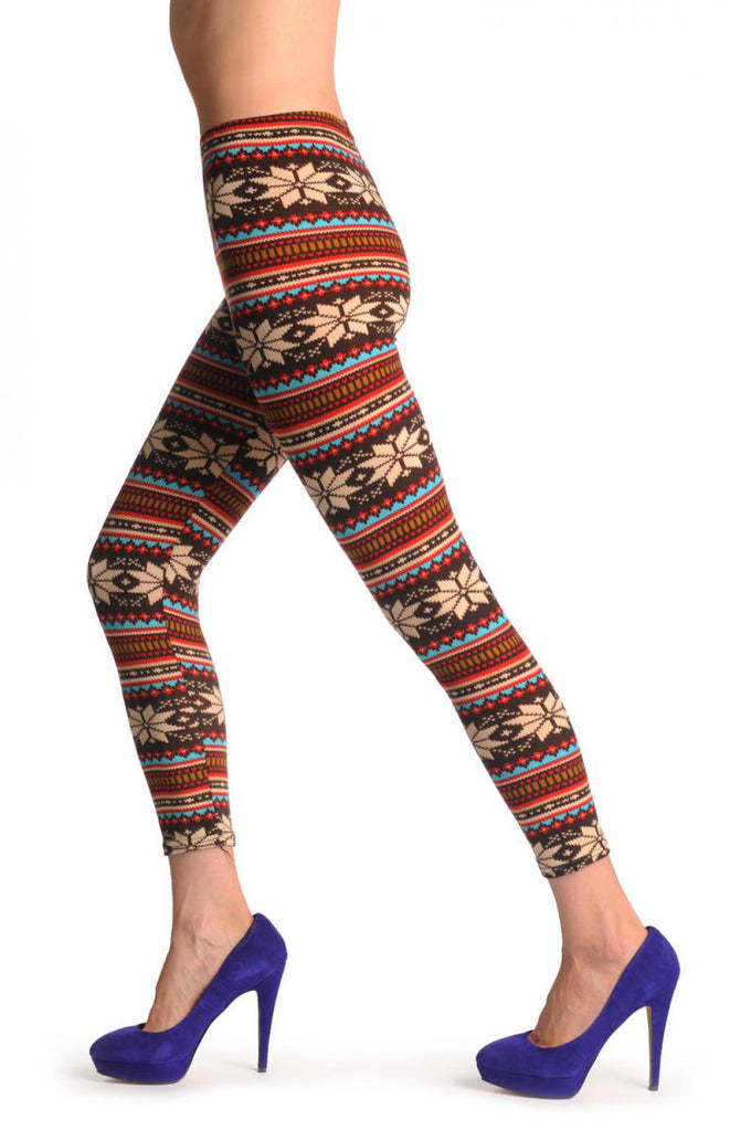 Beige Red Blue & Brown Aztec Jacquard Knit