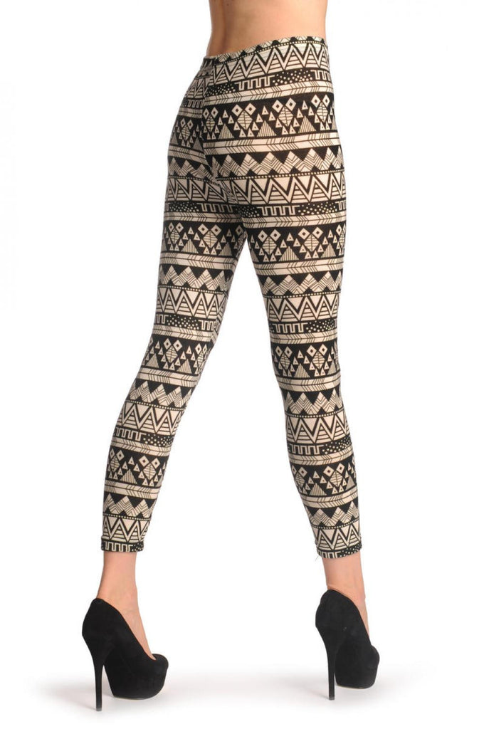 L001573 Woven Black and White Aztec