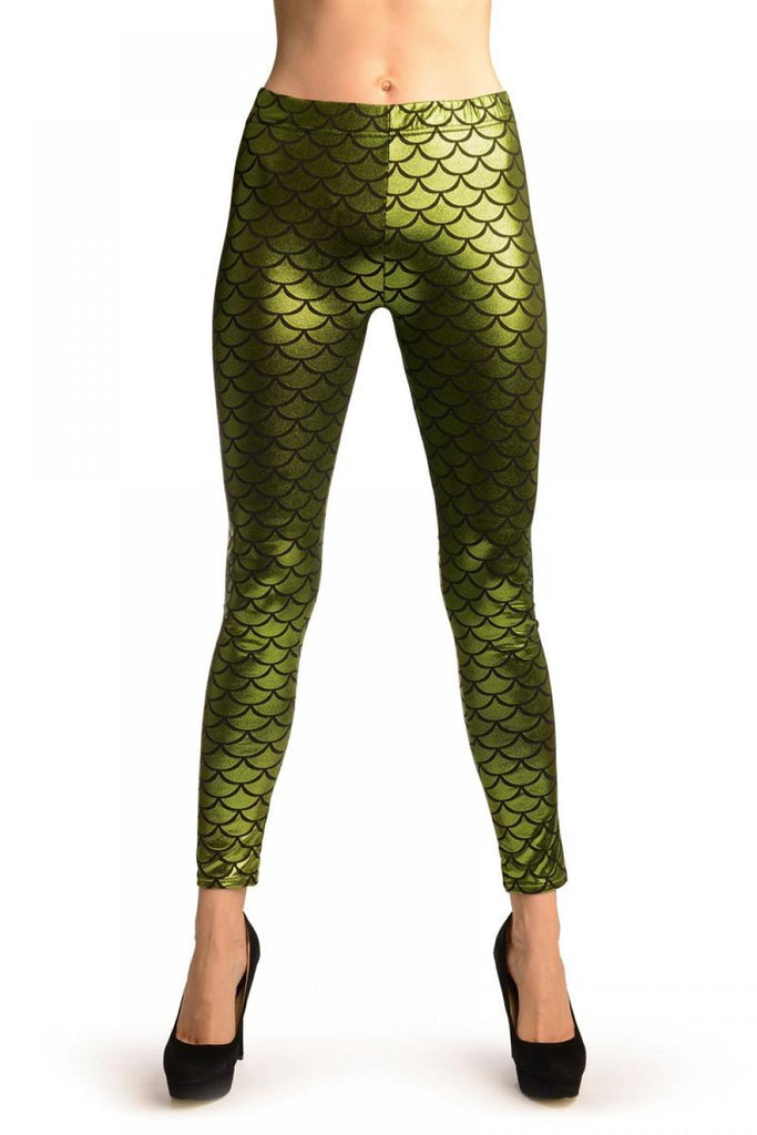 Green Shiny Mermaid Scales Leggings