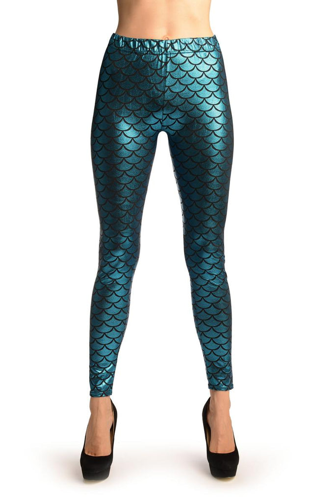 True Blue Shiny Mermaid Scales Leggings