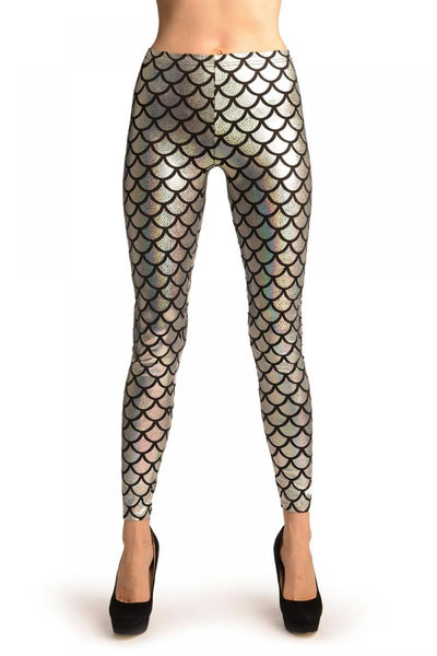 Silver Shiny Gloss Mermaid Scales Leggings