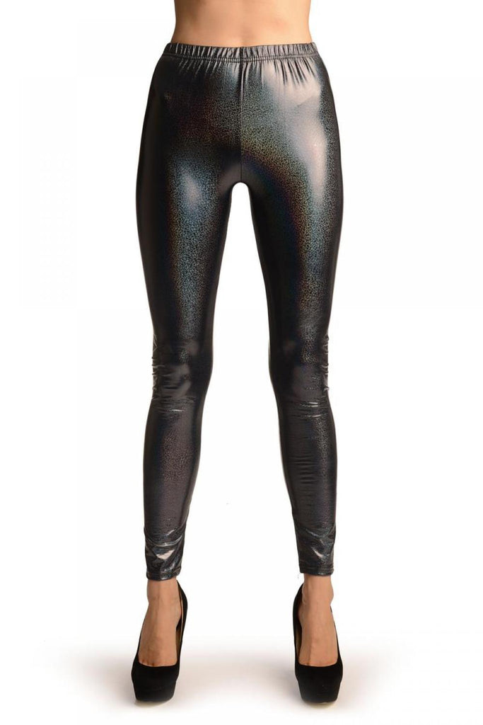 Grey Shiny Gloss Sparkles Leggings