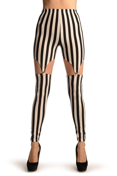 Black & White Stripes Suspender Clip On Leggings
