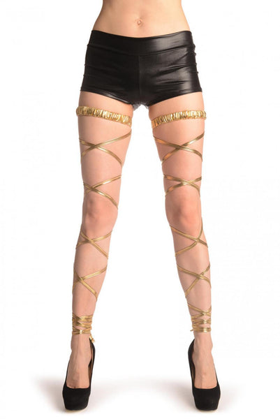Gold Metallic Leg Wrap With Elasticated Top