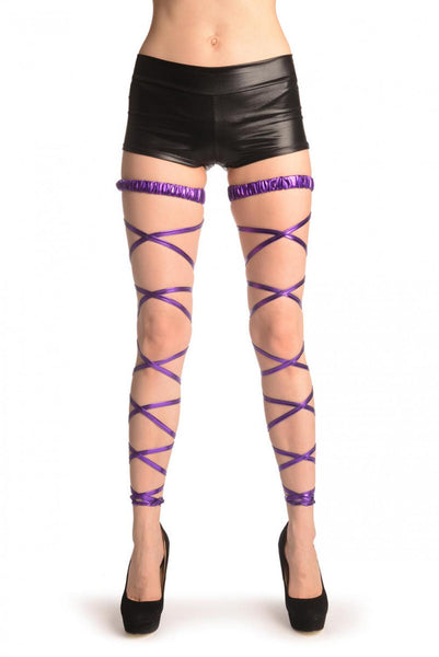 Purple Metallic Leg Wrap With Elasticated Top