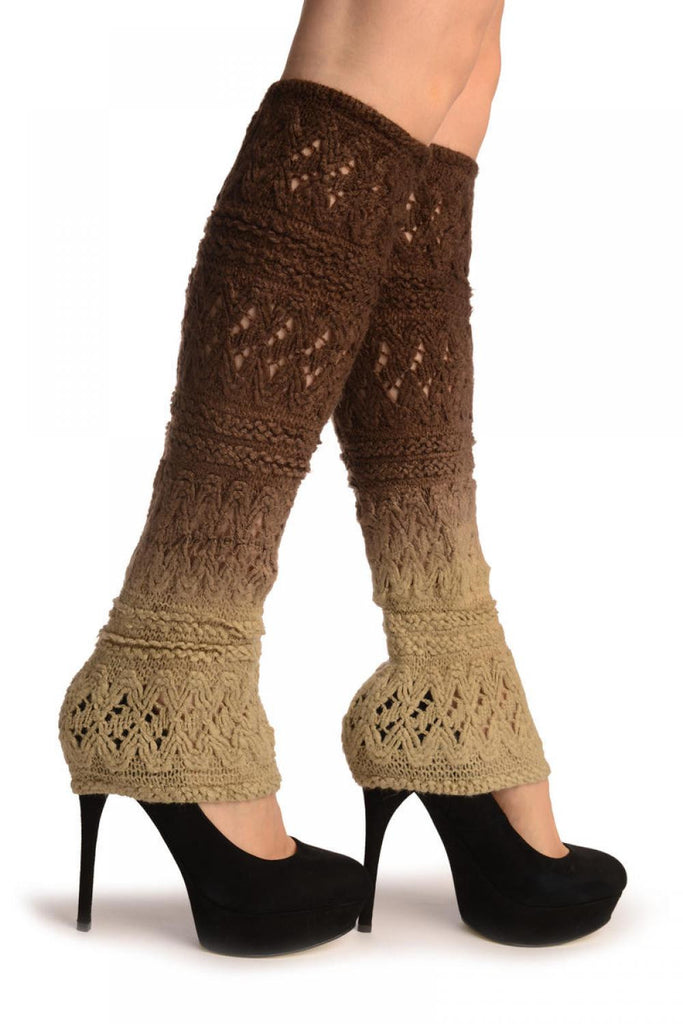 Beige & Brown Ombre Soft Knitted Lace
