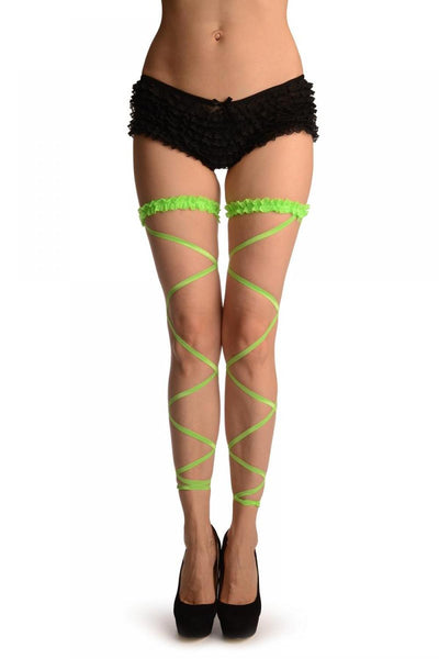 Neon Green Elasticated Ribbon Leg Wrap & Lace Garter