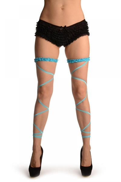 Neon Blue Elasticated Ribbon Leg Wrap & Lace Garter