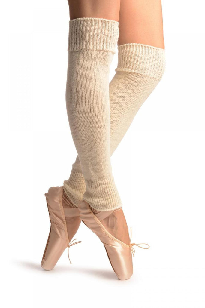 Cream Plain Dance/Ballet Leg Warmers