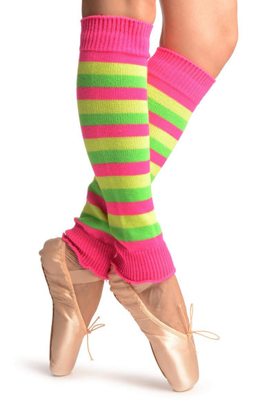 Yellow, Green & Pink Neon Stripes Dance/Ballet Leg Warmers