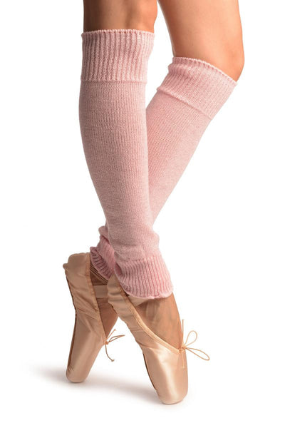 Baby Pink With Silver Lurex Dance/Ballet Leg Warmers