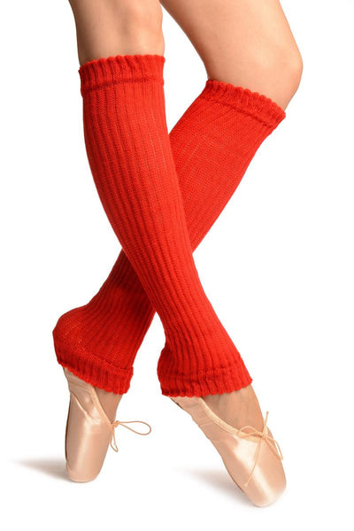 Red Double Rib Stitch Dance/Ballet Leg Warmers