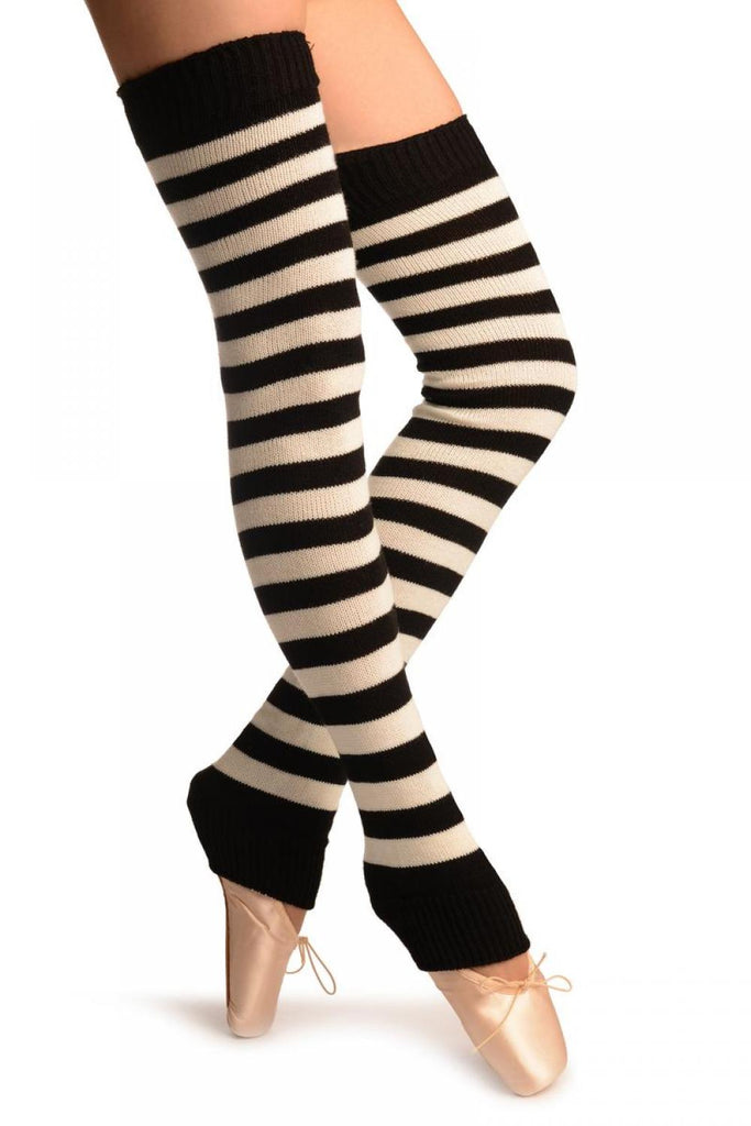 Cream & Black Stripes Dance/Ballet Leg Warmers