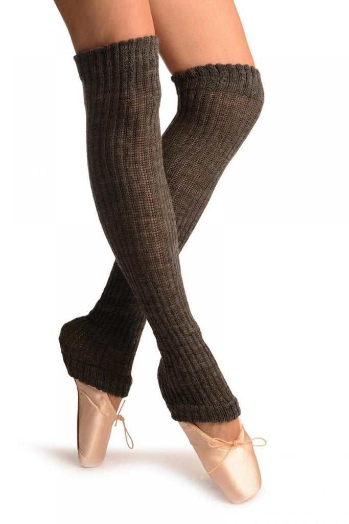 Dark Grey Double Rib Stitch Dance/Ballet Leg Warmers