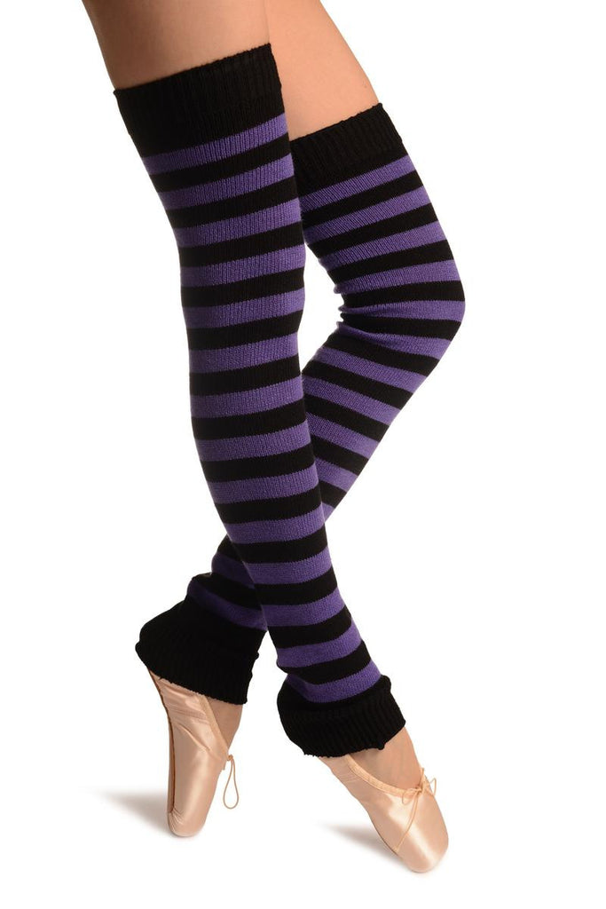 Purple & Black Stripes Dance/Ballet Leg Warmers