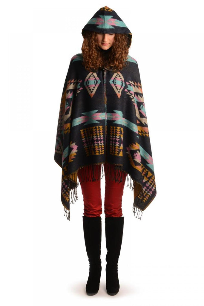 Dark Blue Woven Aztec With Hood Poncho