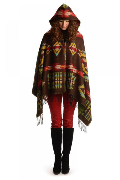 Brown Woven Aztec With Hood Poncho