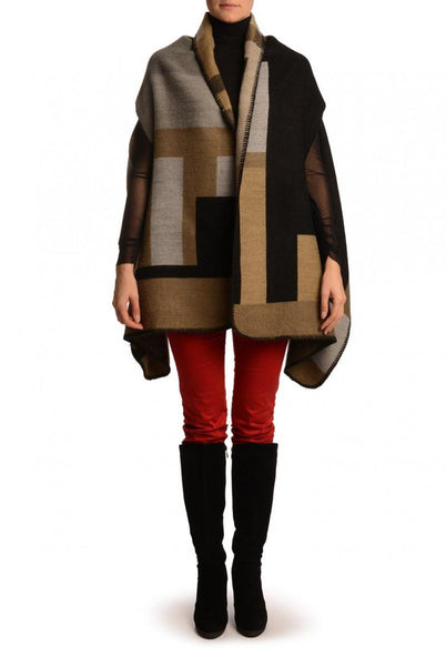 Large Grey, Beige & Black Colour Blocks Blanket Wrap (Poncho)