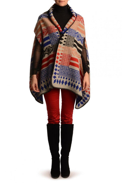 Blue, Red & Black Aztec On Grey Blanket Wrap (Poncho)