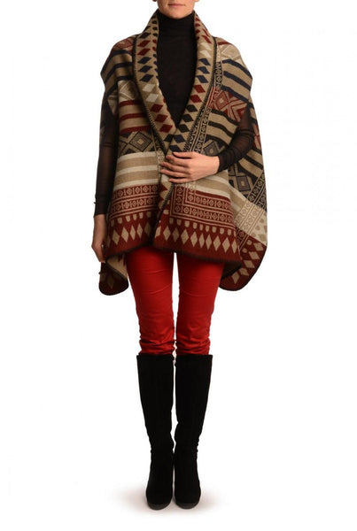 Red, Dark Blue & Black Aztec On Beige Blanket Wrap (Poncho)