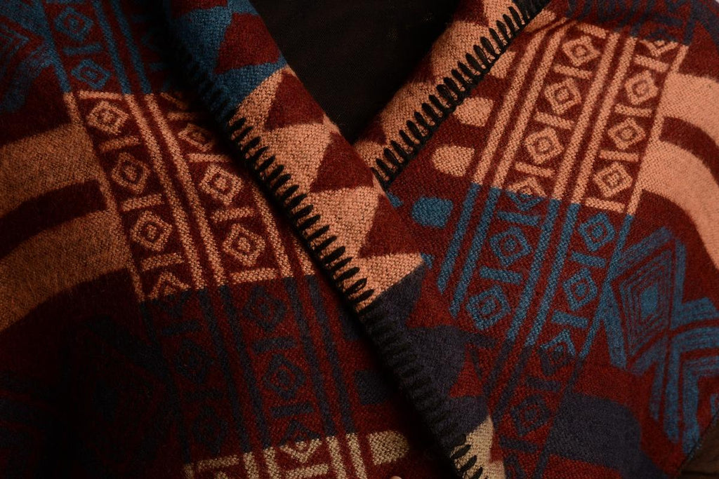 Poncho Peach and Beige and Blue Aztec On Boudreaux Blanket Wrap PC003494