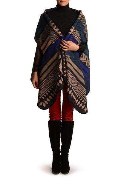 Beige, Blue & Teal Blue Aztec On Black Blanket Wrap (Poncho)