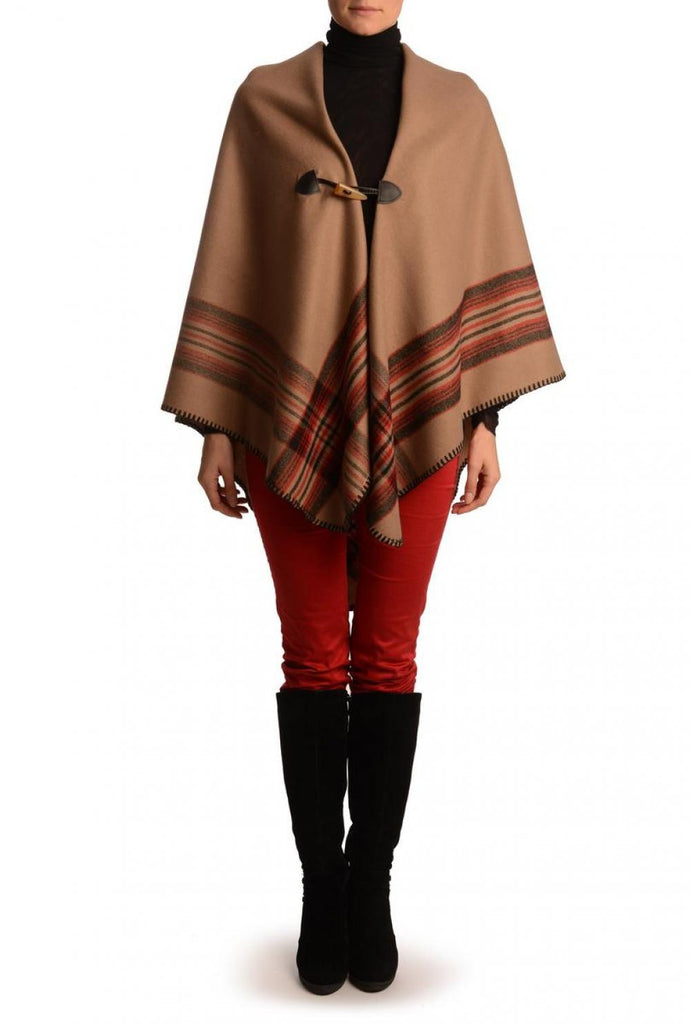 Beige Square With Wide Stripe Fastening Blanket Wrap (Poncho)