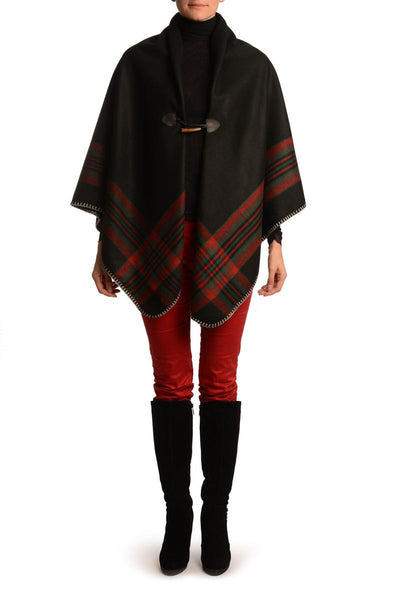 Black Square With Wide Stripe Fastening Blanket Wrap (Poncho)