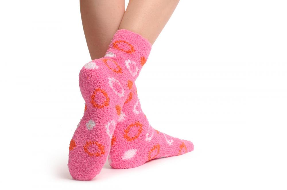 Pink With White & Red Circles Luxury Soft Feather Touch Bed Lounge Socks
