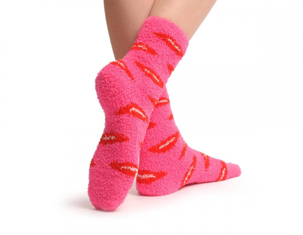 Pink With Red Lips Luxury Soft Feather Touch Bed Lounge Socks