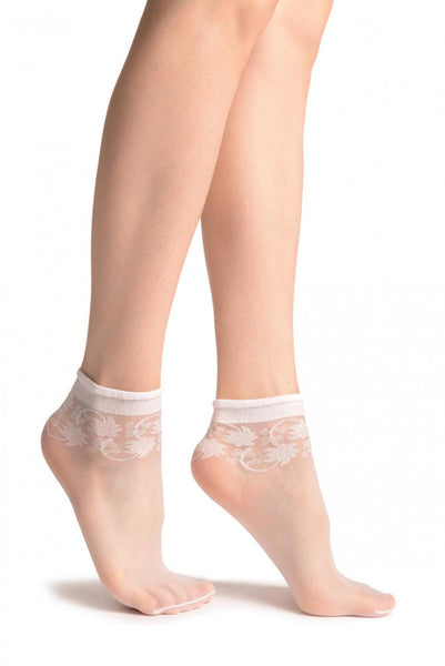 White With Wine Leaves Socks Ankle High