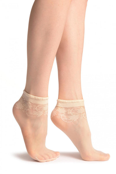 Cream With Wine Leaves Socks Ankle High