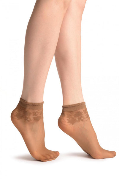 Dark Beige With Wine Leaves Socks Ankle High