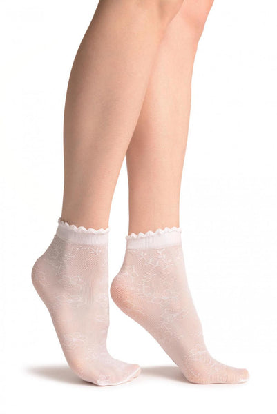 Viola Flowers On White Mesh Socks Ankle High