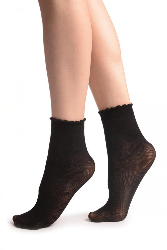 Viola Flowers On Black Mesh Socks Ankle High