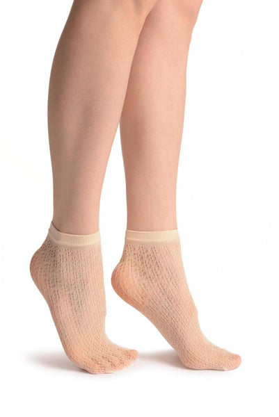 Cream Crochet Polka Lace Socks Ankle High