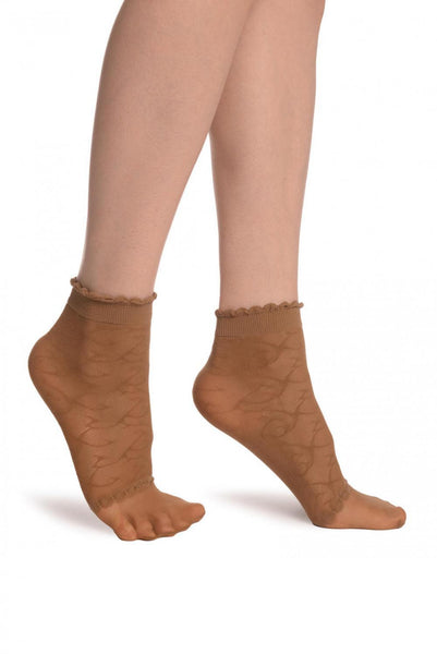 Beige Patterned Mesh & Sheer Toes Socks Ankle High