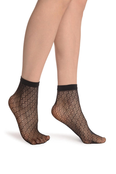 Black Crochet Polka Lace Socks Ankle High