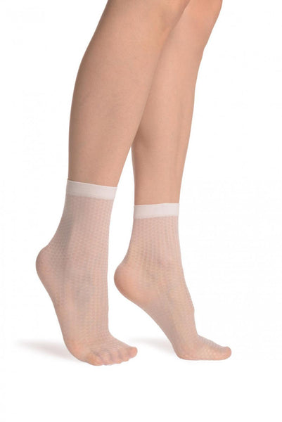 Silky White Snake Skin 15 Den Socks Ankle High