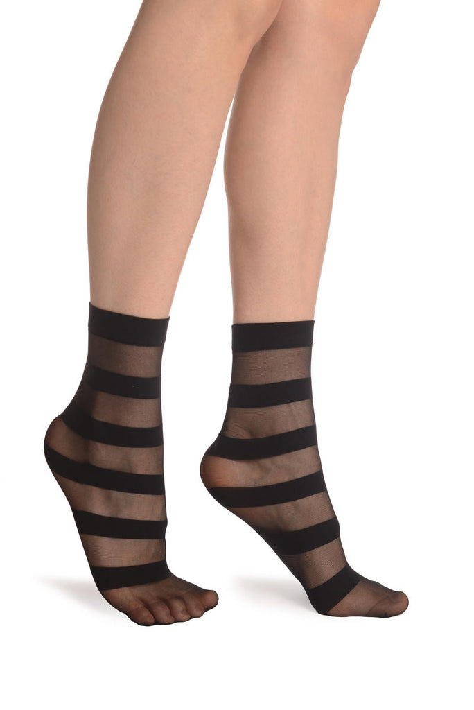 Striped Black 20 Den Socks Ankle High