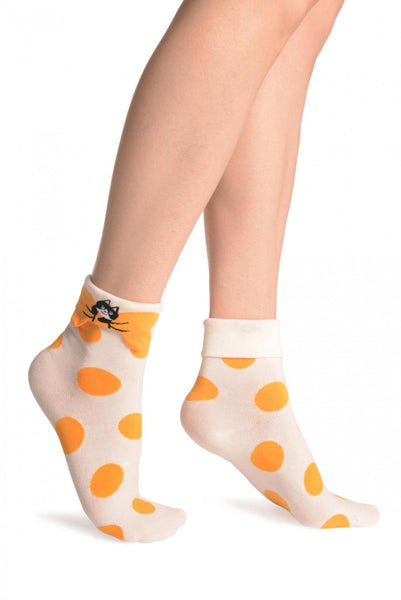 Large Polka Dot With Flip Bow & Kitty Cream Ankle High Socks