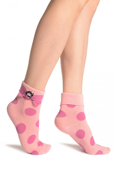 Large Polka Dot With Flip Bow & Kitty Pink Ankle High Cocks
