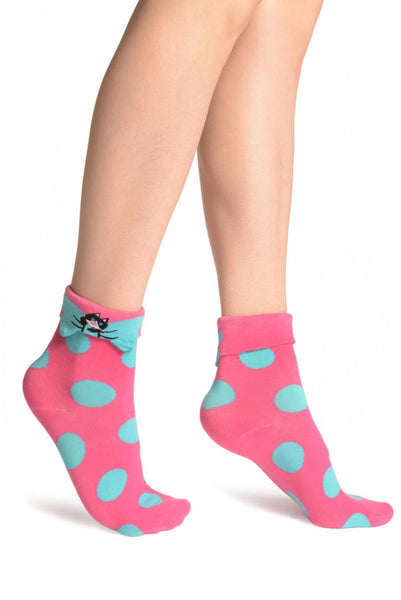 Large Polka Dot With Flip Bow & Kitty Bright Pink Ankle High Cocks