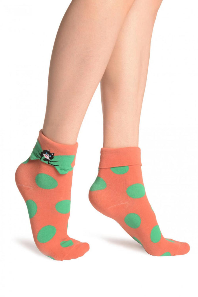Large Polka Dot With Flip Bow & Kitty Terracotta Ankle High Cocks