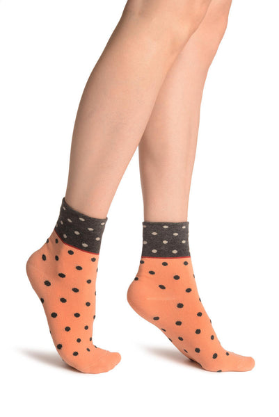 Small Polka Dot On Salmon Pink With Black Top Ankle High Socks