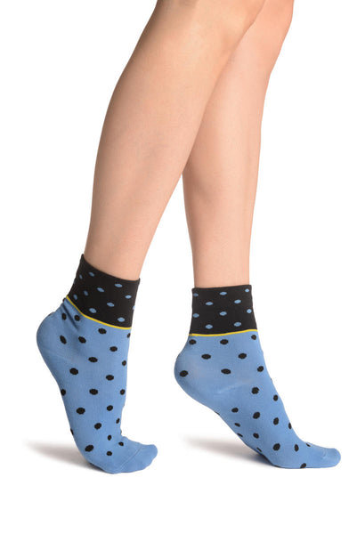 Small Polka Dot On Blue With Black Top Ankle High Socks