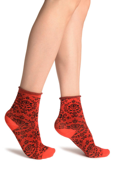Versailles Pattern With Rolling Top on Red Ankle High Socks